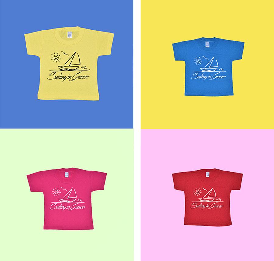 παιδικά μπλουζάκια sailing in greece σε πολλά χρώματα