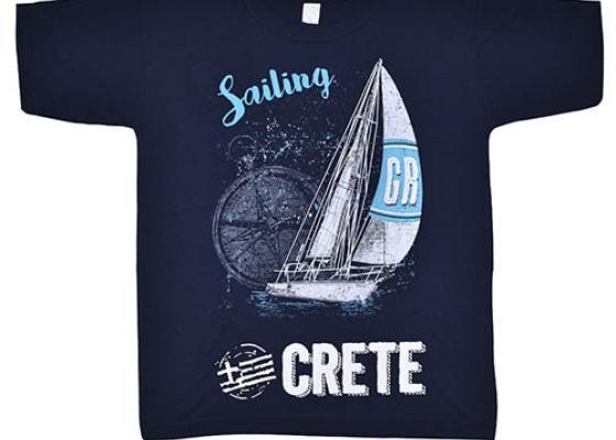 Ιστιοπλοϊα στη Κρήτη μπλούζα τουριστική