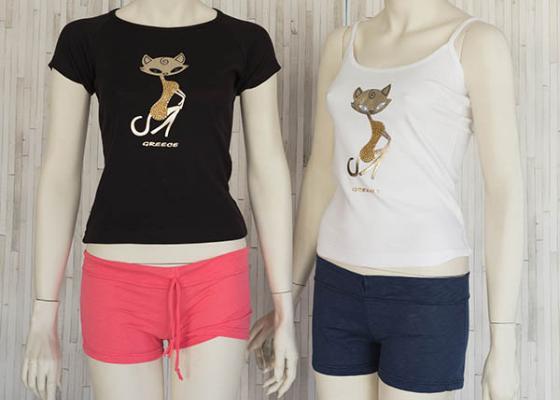 Τουριστικό σετ σορτς μπλουζάκι με σχέδιο γάτα