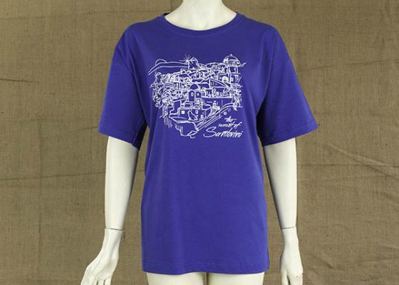 Γυναικεία μακρυά μπλούζα με στάμπα Σαντορίνη